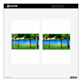 River scene with field and trees kindle fire decal