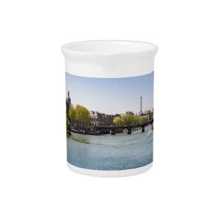 River Seine Eiffel Tower View in Paris, France Drink Pitchers