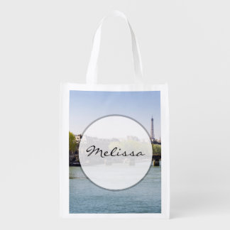 River Seine Eiffel Tower View in Paris, France Grocery Bags