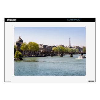 River Seine Eiffel Tower View in Paris, France Laptop Skins
