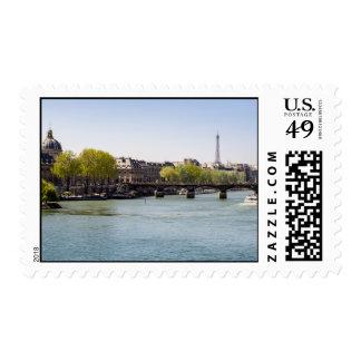 River Seine Eiffel Tower View in Paris, France Postage Stamp