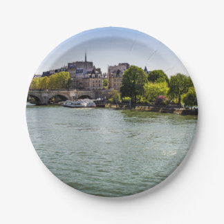 River Seine Ile De La Cite in Paris Photograph Paper Plate