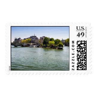 River Seine Ile De La Cite in Paris Photograph Postage Stamp