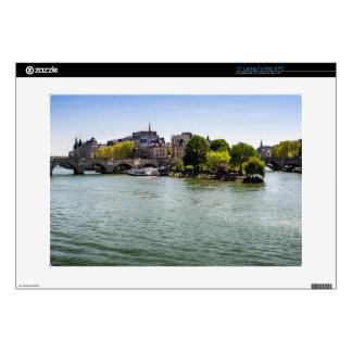 """River Seine Ile De La Cite in Paris Photograph Skins For 15"""" Laptops"""