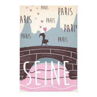 River Seine, Paris,france vintage travel poster Canvas Print