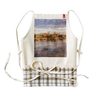 River side city skyline zazzle HEART apron
