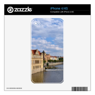 River side of Prague, Republic Czech, Skin For iPhone 4S