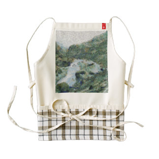 River snaking its way through mountains zazzle HEART apron