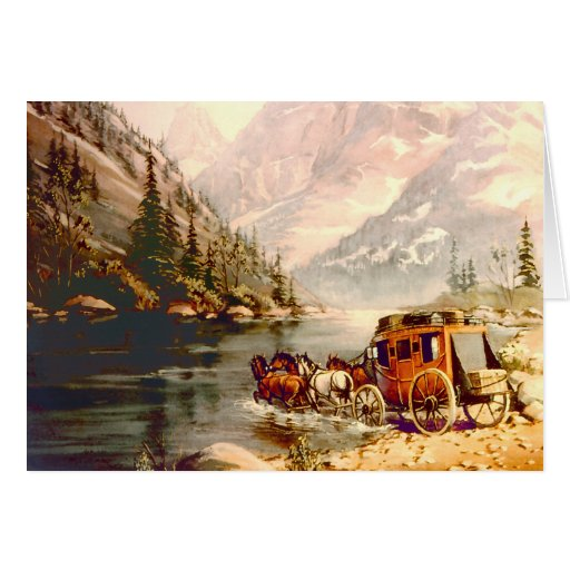 RIVER STAGECOACH CROSSING by SHARON SHARPE Greeting Card