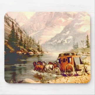 RIVER STAGECOACH CROSSING by SHARON SHARPE Mouse Pad