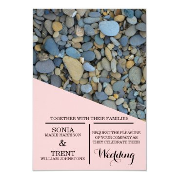 Beach Themed River  Stones pebbles Wedding Card