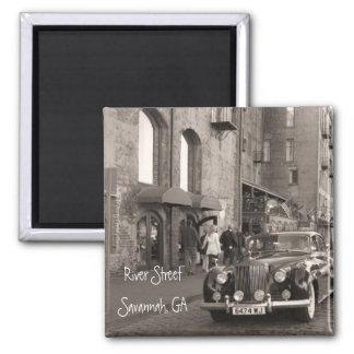 River Street, Savannah, GA 2 Inch Square Magnet