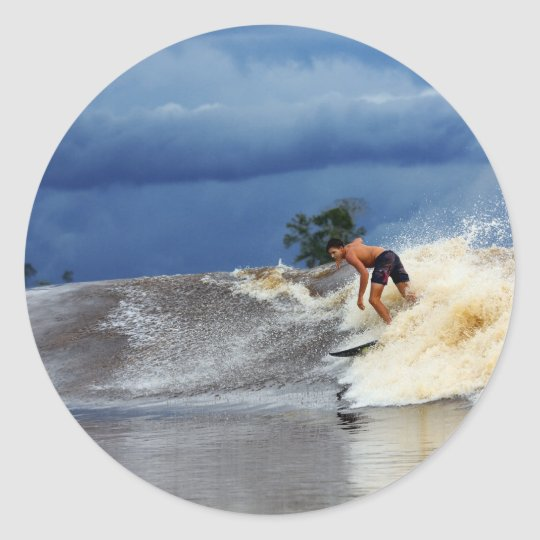 River surfing Seven Ghosts tropical Sumatra Classic Round Sticker