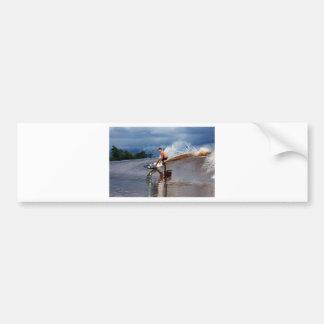 River surfing tidal bore wave Sumatra Bumper Sticker