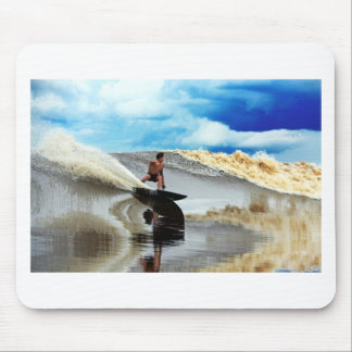 River surfing tidal bore wave Sumatra Mouse Pad