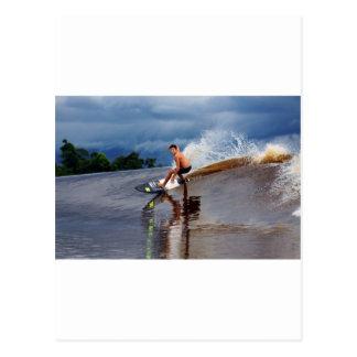 River surfing tidal bore wave Sumatra Postcard