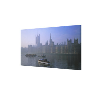 River Thames and Houses Canvas Print