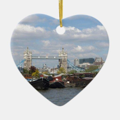 River Thames and Tower Bridge in London, UK Ceramic Ornament