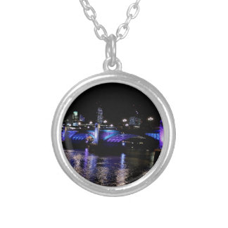 River Thames at Night, London England Silver Plated Necklace