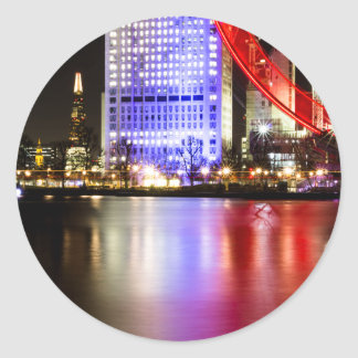 River Thames in Colour at night Classic Round Sticker