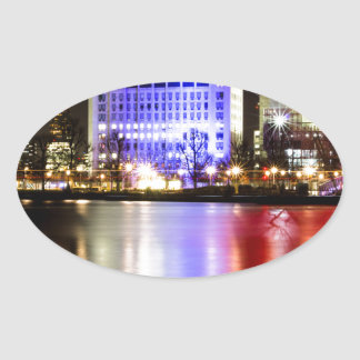 River Thames in Colour at night Oval Sticker