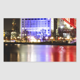River Thames in Colour at night Rectangular Sticker