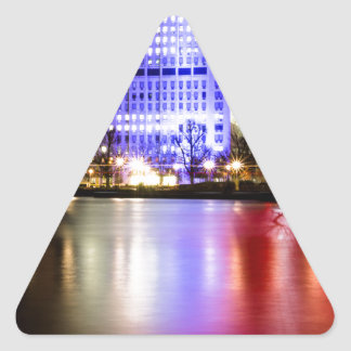 River Thames in Colour at night Triangle Sticker