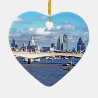 River Thames Double-Sided Heart Ceramic Christmas Ornament