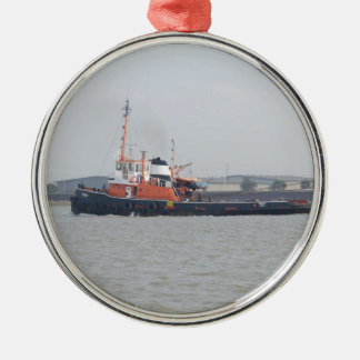 River Thames Tug Round Metal Christmas Ornament