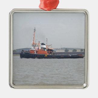 River Thames Tug Square Metal Christmas Ornament