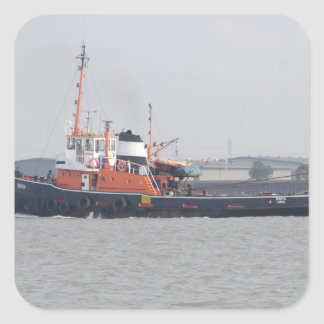 River Thames Tug Square Sticker