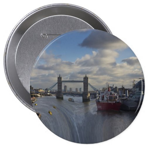 River Thames Waterfall 4 Inch Round Button