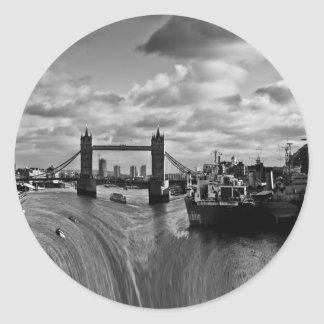 River Thames Waterfall Classic Round Sticker
