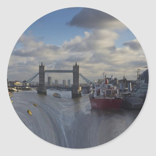River Thames Waterfall Round Sticker