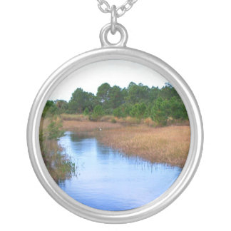River through marshland savannah swamp picture round pendant necklace