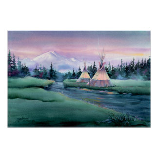 RIVER TIPI CAMP by SHARON SHARPE Poster