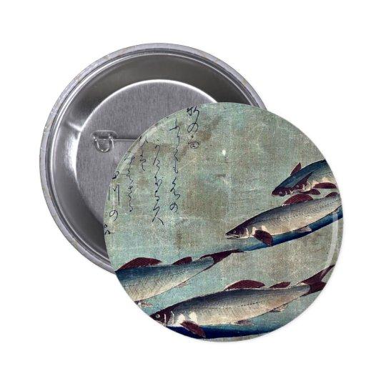 River trout (Ayu) by Andō, Hiroshige Ukiyo-e. Pinback Button