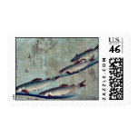 River trout (Ayu) by Andō, Hiroshige Ukiyo-e. Stamp