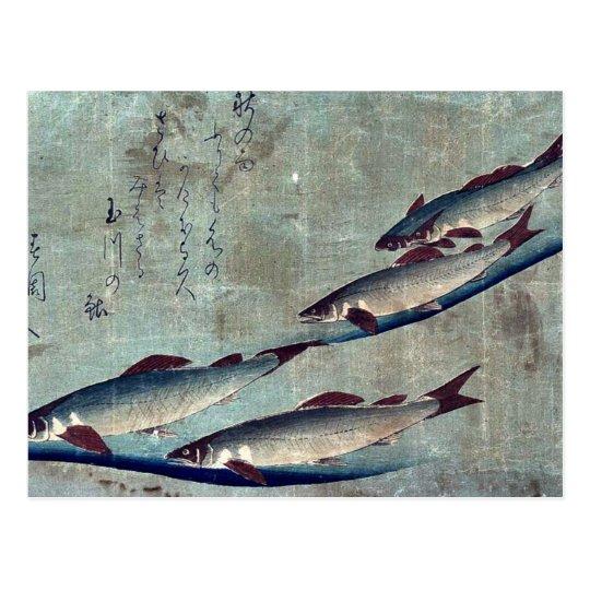 River trout (Ayu) by Andō, Hiroshige Ukiyo-e. Postcard
