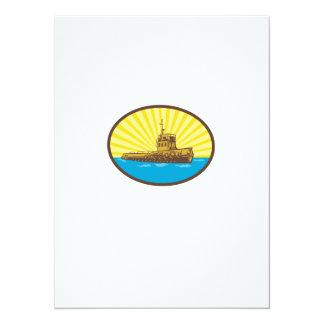 River Tugboat Oval Woodcut Card