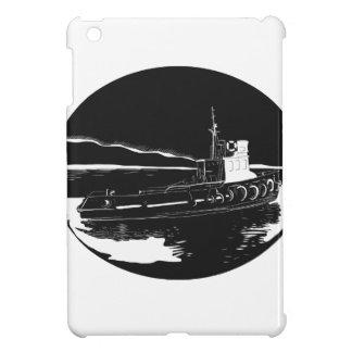 River Tugboat Oval Woodcut iPad Mini Cases