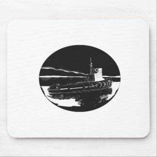 River Tugboat Oval Woodcut Mouse Pad