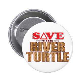 River Turtle Save Pinback Button