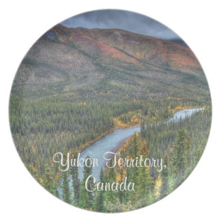 River Valley Illusion; Yukon Territory Souvenir Dinner Plate