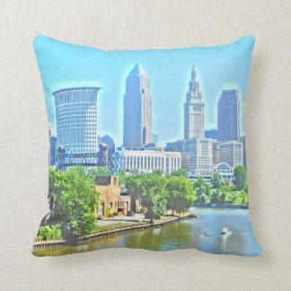 River View Cleveland Ohio (Paint Effect) Pillow