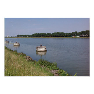 River view in summer, shipping, Poster