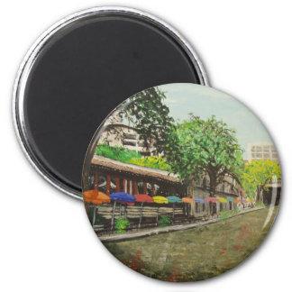 River Walk San Antonio, TX Painting 2 Inch Round Magnet