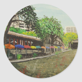 River Walk San Antonio, TX Painting Classic Round Sticker