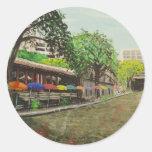 River Walk San Antonio, TX Painting Round Stickers
