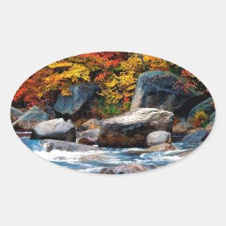 River White New Hampshire Oval Sticker